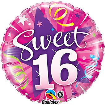 Qualatex 18 Inch Sweet 16 Shining Star Circular Foil Birthday Balloon
