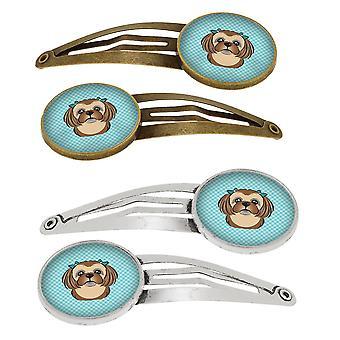 Checkerboard Blue Chocolate Brown Shih Tzu Set of 4 Barrettes Hair Clips