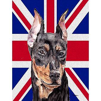 Deutscher Pinscher mit englischen Union Jack britische Flagge Fahne Leinwandgröße Haus