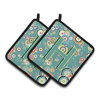 Letter H Circle Circle Teal Initial Alphabet Pair of Pot Holders