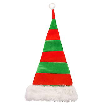 Adults Christmas Red & Green Striped Festive Santa Hat Party Accessory