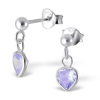 Heart - 925 Sterling Silver Cubic Zirconia Ear Studs