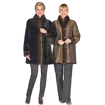 Reversible Sable Fur Trim Sheared Mink Jacket for Women - Bronze