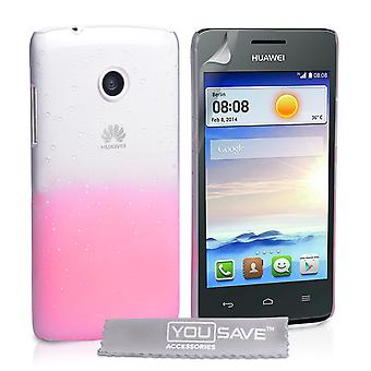 Huawei Ascend Y330 Raindrop Hard Case - Baby Pink-Clear