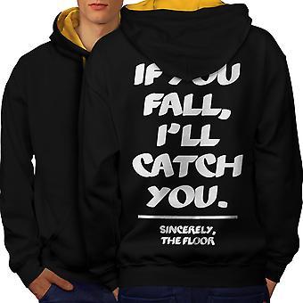 Fall Catch Floor Funny Men Black (Gold Hood)Contrast Hoodie Back | Wellcoda