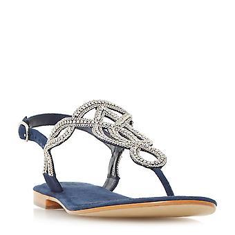 Dune Mesdames NEA embelli Toe Post sandale en marine