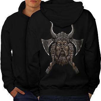 Northern Helmet Axe Men BlackHoodie Back | Wellcoda
