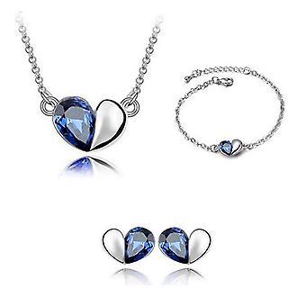 Dark Blue Designer Love Heart Themed Jewellery Necklace Bracelet And Earrings Set