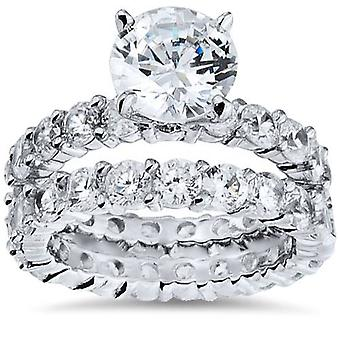 5 1/2ct Diamond Eternity Engagement Wedding Ring Set 14K White Gold