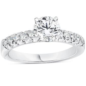 1 3/8ct Pave Enhanced Diamond Engagement Ring 14K White Gold Vintage Antique