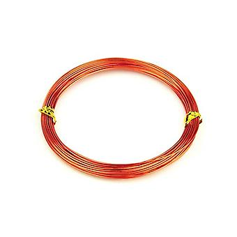 1 x Orange/Red Plated Aluminium 1mm x 10m Round Craft Wire Coil HA16600