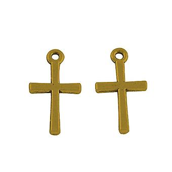 Packet 30 x Antique Gold Tibetan 18mm Christian Cross Charm/Pendant ZX02000