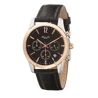 Kenneth Cole Mens Black Rose Gold Silver Analogue Quartz Watch KC1502 UK Warranty