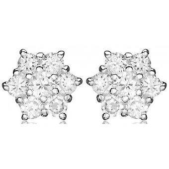 IBB London Cluster Cubic Zirconia Stud Earrings - Silver