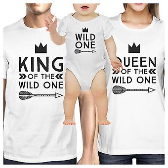 King Queen Wild One Feather Matching Family White Shirts New Parents Gift