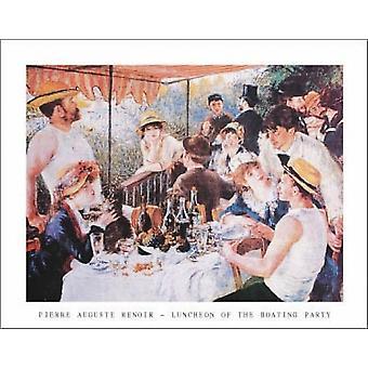 Almoço em uma impressão de cartaz festa Náutica de Pierre-Auguste Renoir (28 x 22)