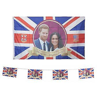 Royal Wedding Party Harry & Meghan Large Bunting & Flag Decoration Accessory Set