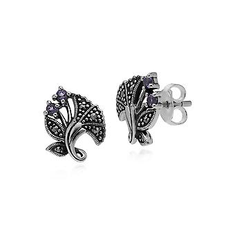 Gemondo Sterling Silver Amethyst & Marcasite February Art Nouveau Stud Earrings
