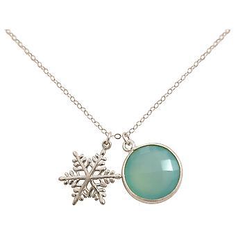 Gemshine - damer - halsband - hängsmycken - snöflinga - 925 Silver - Kalcedon - havet grön - 45 cm