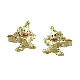 Kinder Ohrringe Ohrstecker gold 375 Kinderschmuck Clown Mund-rot 9 Kt GOLD