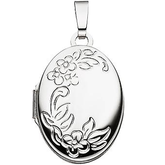 Medallion flowers oval for 2 photos 585 gold white gold pendant to open