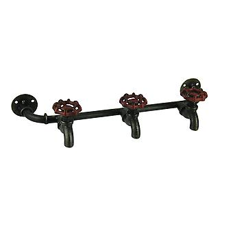 Triple Garden Faucet and Pipe Metal Wall Hook Rack