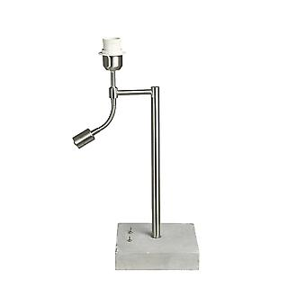 Light & Living ESSEN Retro Chrome Table Lamp With Reading Light And Concrete Base