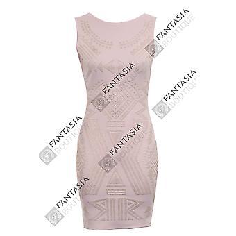 Neue Damen ärmelloses Perlen Stammes-Muster Damen Bodycon Kleid