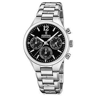 Festina Womens Boyfriend Chronograph Stainless Steel Black Dial F20391/4 Watch