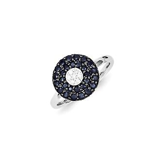 Sterling Silver Polished Open back Rhodium-plated Diamond and Sapphire Circle Ring - Ring Size: 7 to 8