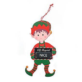TRIXES 20cm Naughty or Nice Wooden Hanging Decoration Elf Design