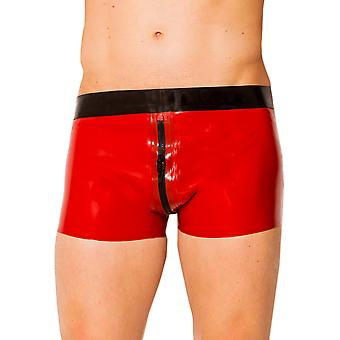 Skin Two Clothing Men's Kinky Shorts Zip in Latex Rubber Black & Red