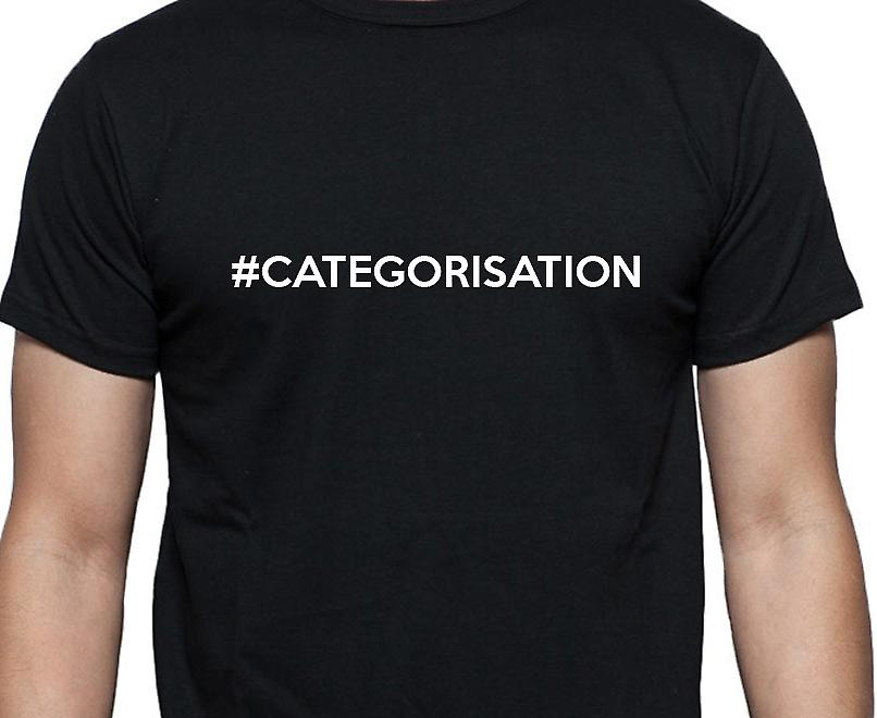 #Categorisation Hashag Categorisation Black Hand Printed T shirt