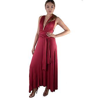 Lovemystyle Multi-Way Tie Maroon Maxi-Kleid
