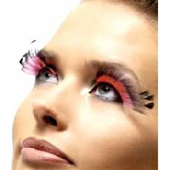 Feather Plume Eyelashes, Black and Pink, Contains Glue