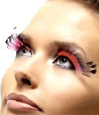 Feather Plume Eyelashes - Black and Pink - Contains Glue