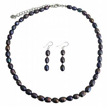 Ferskvands perler smykker Set Metallic lilla ferskvands perle halskæde-Indstil