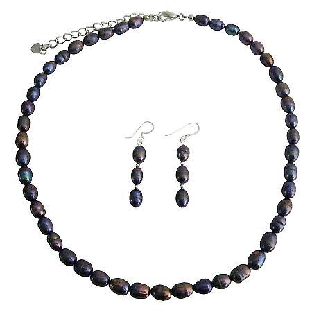 Freshwater Pearls Jewelry Set Metallic Purple Freshwater Pearl Necklace Sett