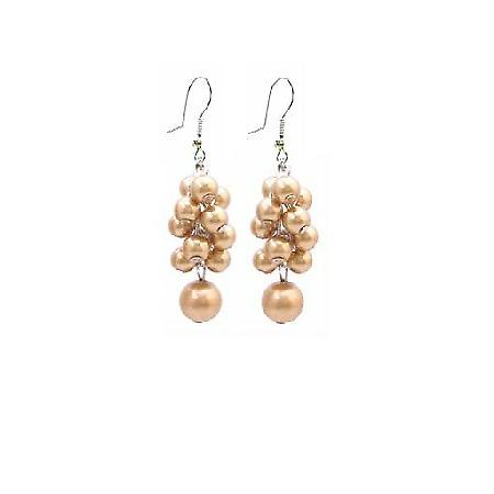 Under $5 Bridesmaid Wedding Jewelry Golden Grape Pearls Earrings