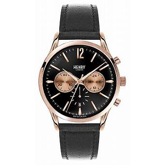 Henry London Richmond Black Leather Strap Chronograph HL41-CS-0042 Watch