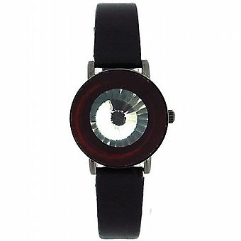 Anaii Pink Instinct Crystal Flip Open Black Strap Ladies Fashion Watch AP526