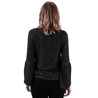 Womens Brave Soul Brushed Fluted Sleeve Top In Dark Charcoal