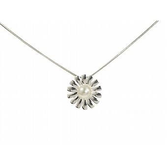 Cavendish French Spiky Petal Pearl and Sterling Silver Daisy Pendant