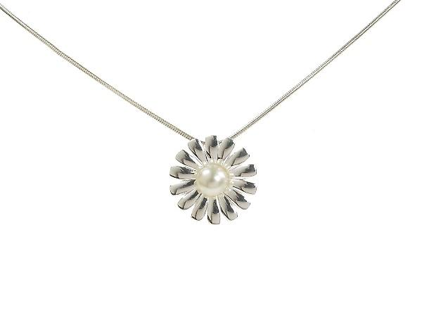 Cavendish French Spiky Petal Pearl and Sterling Silver Daisy Pendant without Chain