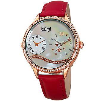 Burgi Women's  Quartz Mother-of-Pearl Dual time  Rose-Tone Strap Watch BUR184RD