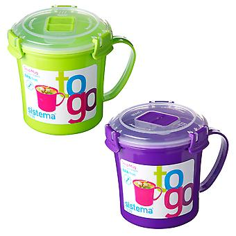 Sistema Set of 2 Soup Mugs, Lime and Purple