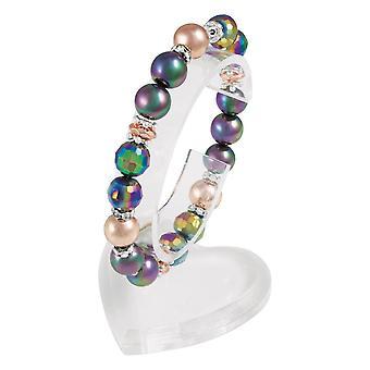 Eternal Collection Mallorca Purple Multi Rose Gold Tone Stretch Beaded Bracelet