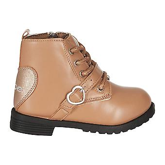 Toddler Girls Lace Up Combat Boots with Heart Buckle Straps Fashion PU Shoes