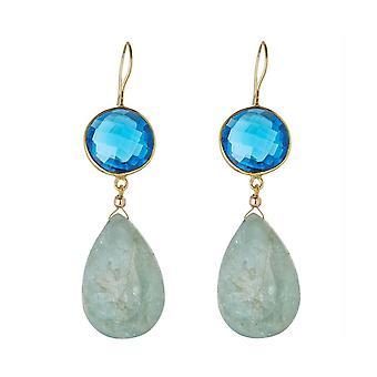 Gemshine earrings blue topases, aquamarine gemstone drops 925 silver plated
