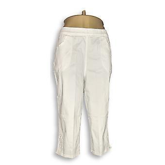 Denim & Co. Pull-on Stretch Capri Pants w/ Crochet White A288103
